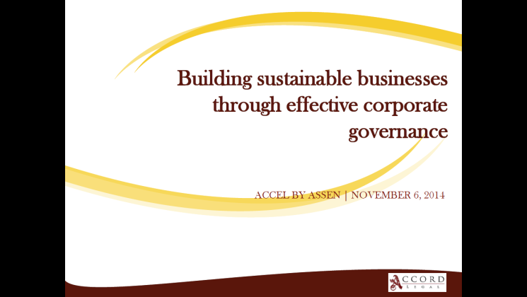 Building sustainable businesses through effective corporate governance